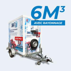 location remorque frigorifique 6m3 SMAT avec rayonnage à louer