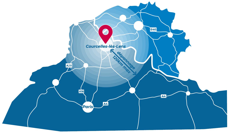 Carte des 120 km de rayon pour la livraison et le dépannage de la location de remorque frigorifique